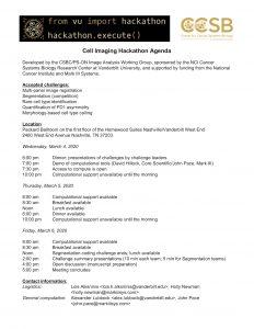 Agenda for Cell Imaging Hackathon