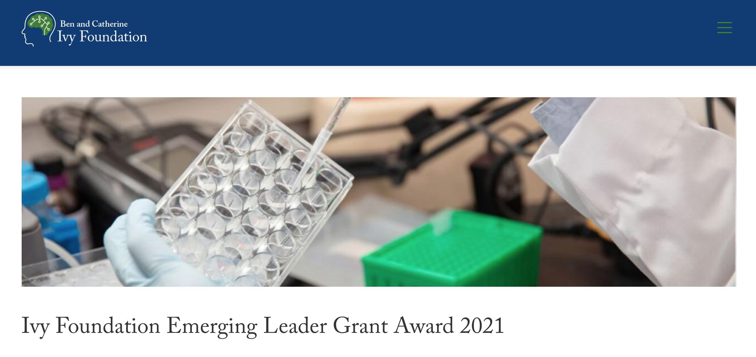 Ivy Foundation Emerging Leader Grant Award website screenshot